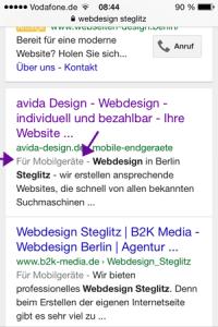 Website optimiert für mobile Endgeräte