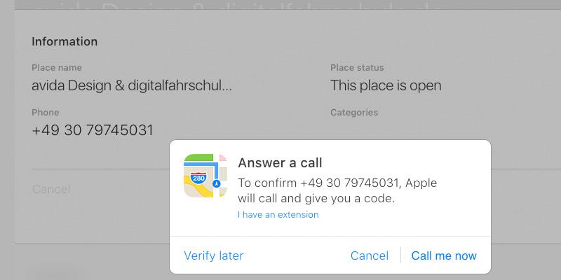 Bestätigungscode eintragen, um Ihre Telefonnummer im Firmeneintrag bei Apple-Maps zu bestätigen