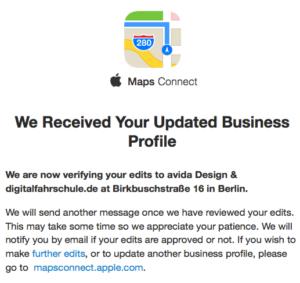 Bestätigungmail von Apple