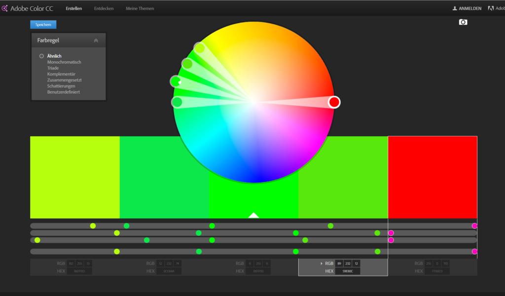 Harmonische Farben finden mit dem Adobe Farbrad
