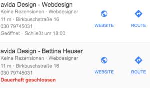 Dauerhaft geschlossen - Google My Business Einträge