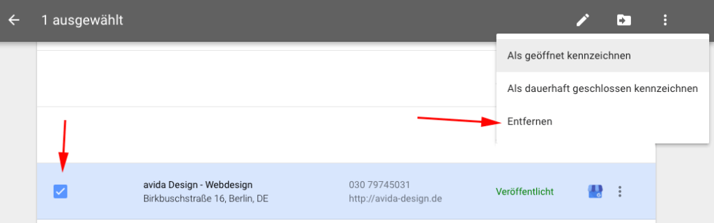 Google My Business Eintrag löschen