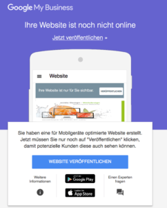 Website veröffentlichen über Google Business