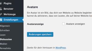 Die Avatar-Funktion ist abgeschaltet