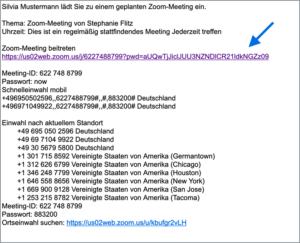 Einladungsmail zu Zoom Meeting