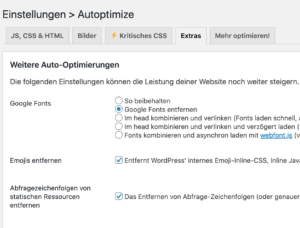 Emojis & Google Fonts deaktivieren mit Autoptimize