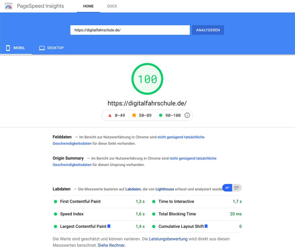 Nutzerfreundlichkeit messen mit PageSpeed Insights
